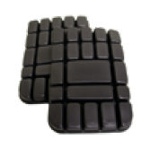 Finixa schwarze Kniepads für Lackieroverall grau (1 Paar)
