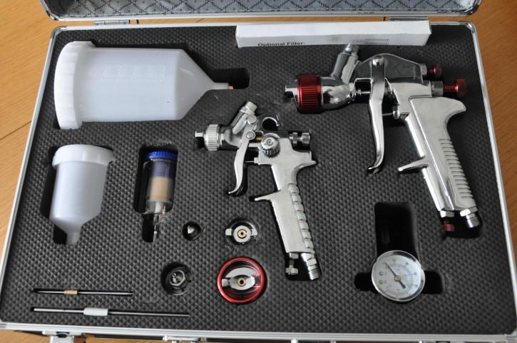 StC Pistolenkoffer mit 2 HVLP Pistolen + 4 Düsensätzen