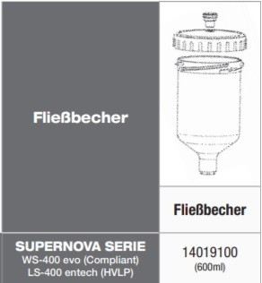 Anest Iwata Fließbecher 600ml PC-G600P-2