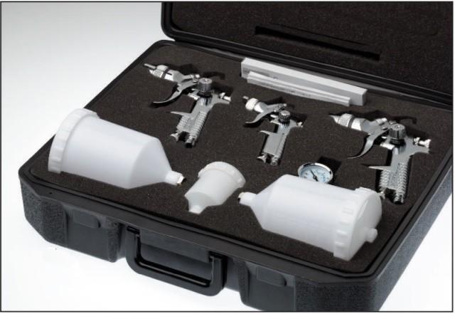 StC Pistolenkoffer mit 3 HVLP Pistolen (1,4mm/1,7mm/0,8mm)