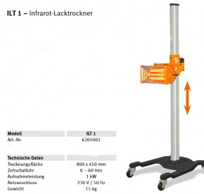 Unicraft ILT 1 Infrarot-Lacktrockner, 230V,1kW
