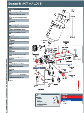 SATAjet 100 B P mit 0,6l QCC-Kunststoff-Mehrwegbecher ohne Drehgelenk (P Düse)